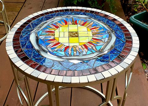 Jane Mahood's mosaic table
